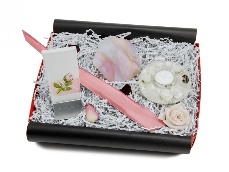 Wellnessgeschenkbox 229 (Flatyz Motivkerze + SoapRocks Kristallseife) Beauty Box für Frauen