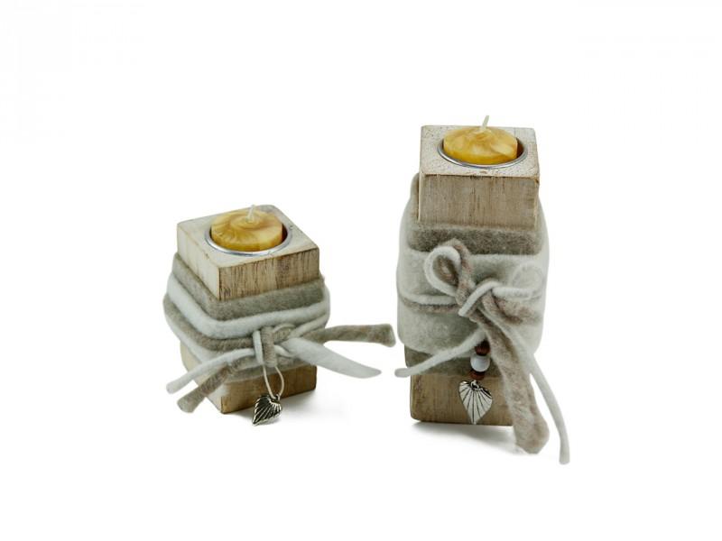 Teelichthalter Holzblock hell (klein) - Romantische Geschenkidee