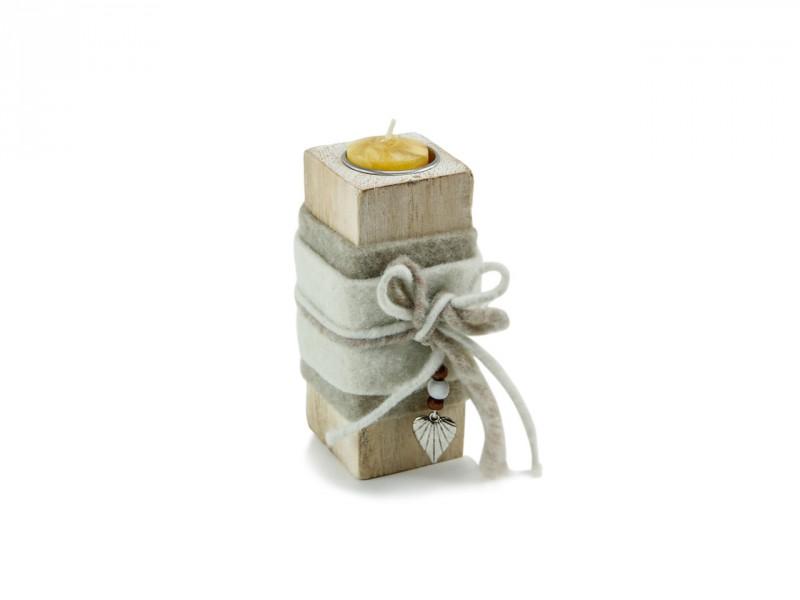 Teelichthalter Holzblock hell - Romantisches Geschenk für sie