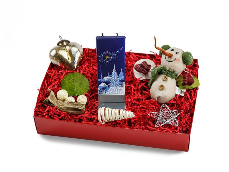 Weihnachtsgeschenk Box 233 (Plüschschneemann + Flatyz Motivkerze) Geschenkidee zu Weihnachten