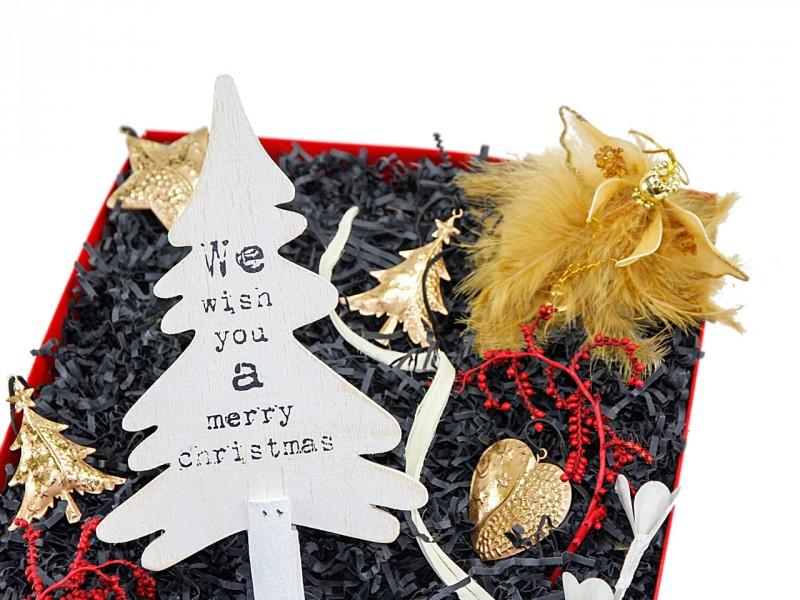 Weihnachtsbox 232 (Deko Tannenbaum + Engel mit Federn) Geschenkset Weihnachten