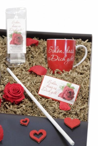 """Liebesbox """"Schön, dass es dich gibt"""" silber-weiß (Herz liegend"""