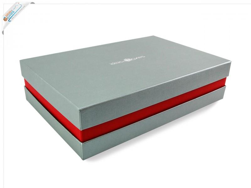 Premium-Geschenkbox - Geschenkverpackung Made in Germany (Silber, Rot, Silber) 41x9x31 cm