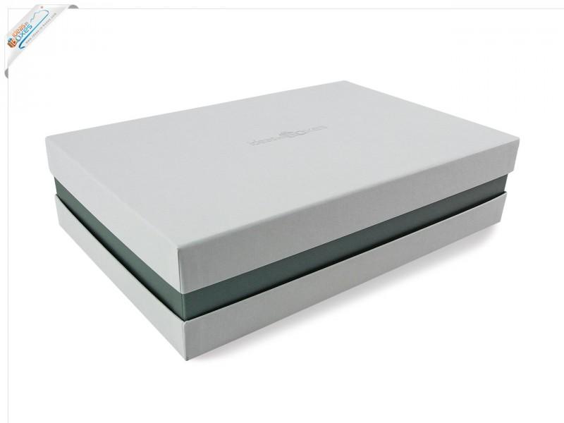 Premium-Geschenkbox - Geschenkverpackung Made in Germany (Weiß, Silber, Weiß) 41x9x31 cm