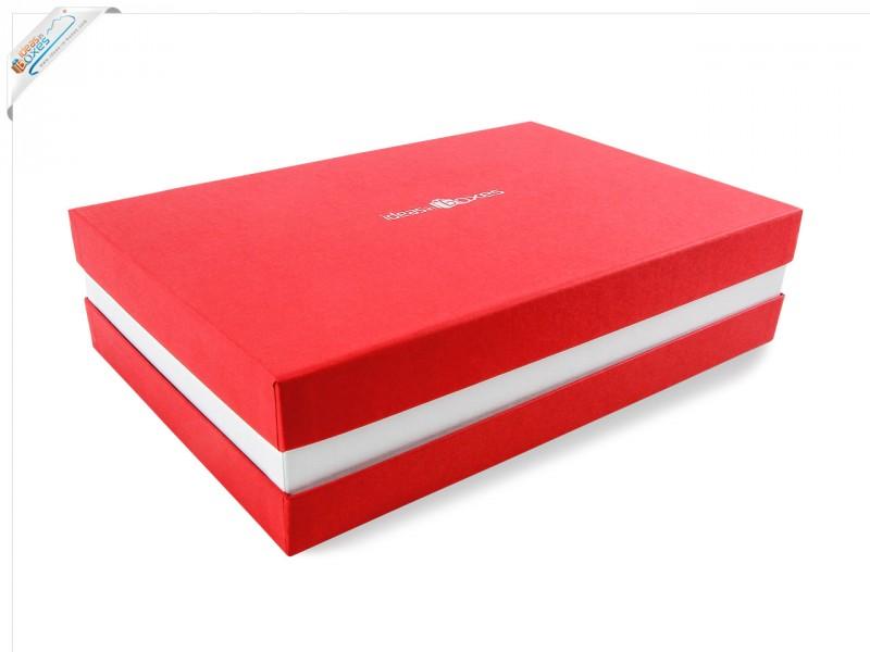 Premium-Geschenkbox - Geschenkverpackung Made in Germany (Rot, Weiß, Rot) 33x8x22 cm