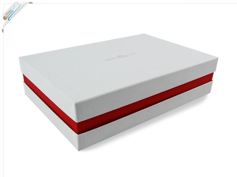 Premium-Geschenkbox - Geschenkverpackung Made in Germany (Weiß, Rot, Weiß) 41x9x31 cm