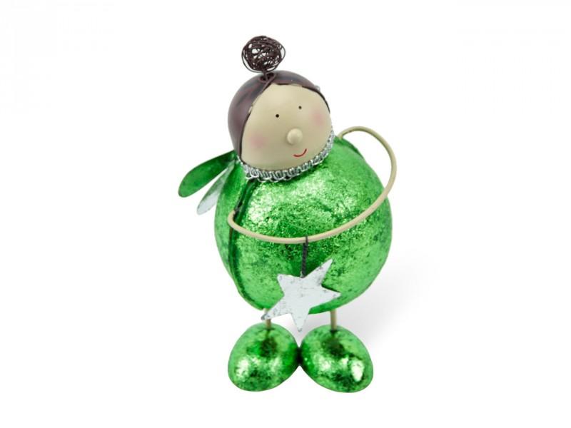 Aufsteller Engel grün metallic mit Stern