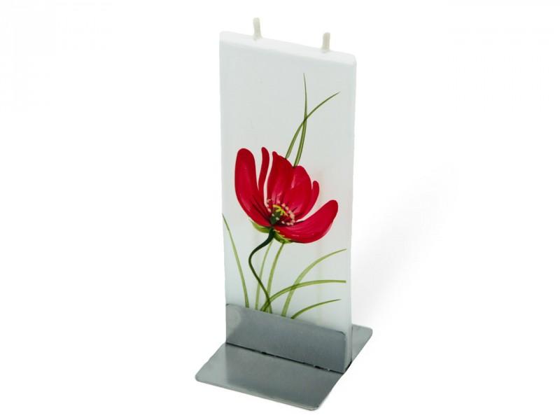 Flatyz die flache Mehrdocht-Motivkerze - Rote Tulpe mit Gräsern