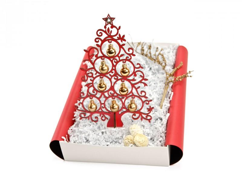Weihnachtsgeschenk Christbaum (rot mit 8 Kugeln aus Glas, 25 cm, 3mm Holz) Weihnachtsbox für Sie und Ihn