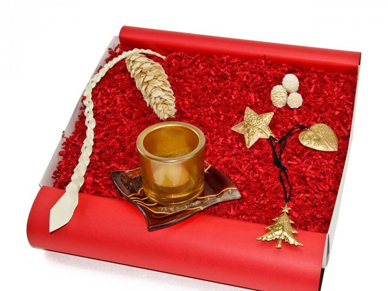 Weihnachtsbox - Geschenkset zu Weihnachten (Dekoschale + Teelichthalter)