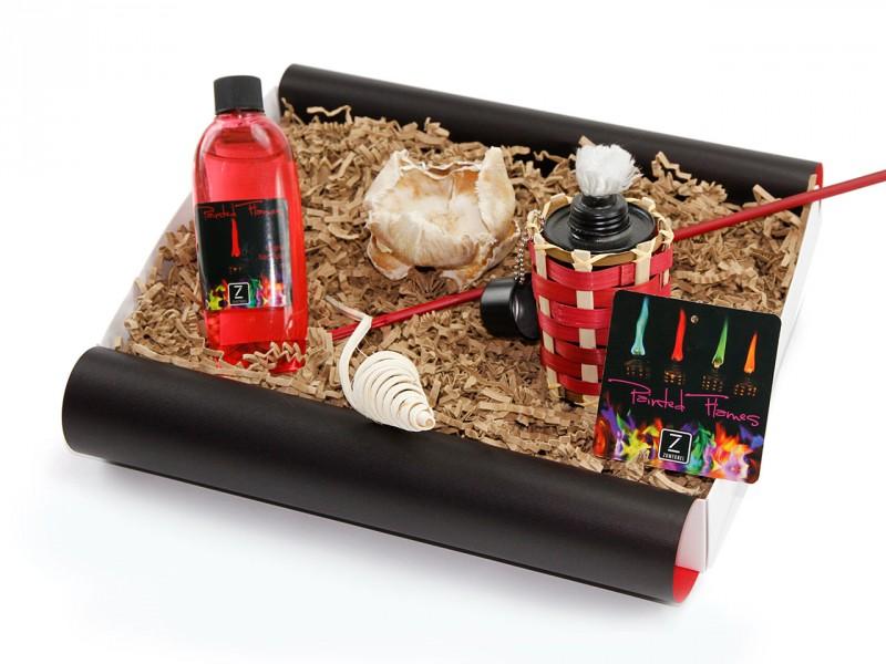 """Geschenkbox """"Painted Flames"""", rot (Painted Flames Outdoor Bambusfackeldose + Brennflüssigkeit, 170ml, rot) Männergeschenk"""