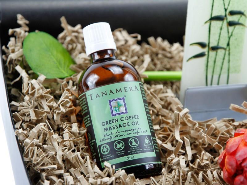 "Geschenkbox ""Entspannung pur"" Florales Bambusmuster (Tanamera Massage-Öl"