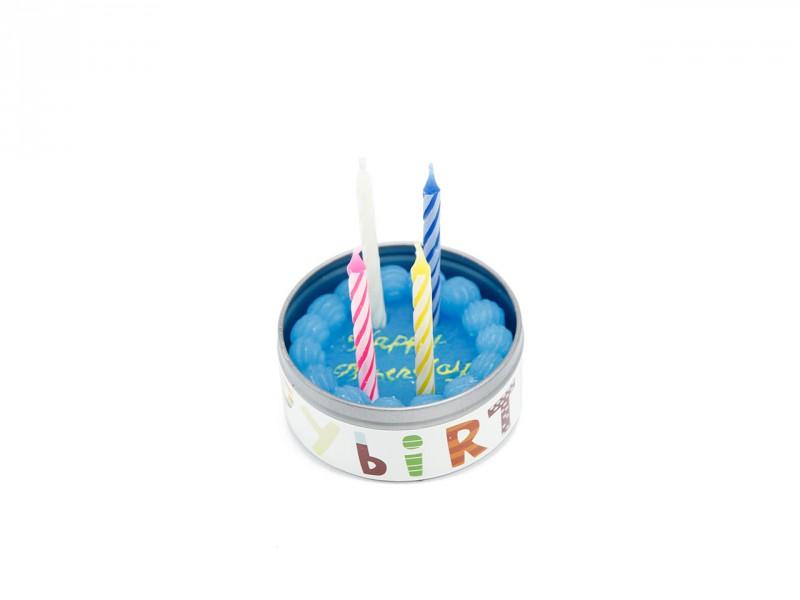 Wachstorte *HAPPY BIRTHDAY* mit 4 kleinen Kerzen in blau