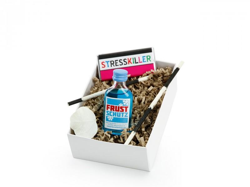 """Mitbringbox """"Frustschutz"""" (Frustschutz - Wodka Feige 20 ml  + Mini-Schoko 18g mit verschiedenen Aufschriften) humorvolle Geschenkbox"""