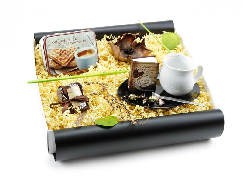 """Geschenkbox """"Kaffeeduft & Glücksmomente"""" (Luigi Colani Designer Kaffeebecher zweifarbig + Teedose *Kaffeeduft & Glücksmomente*) Kaffeeset für Genießer"""
