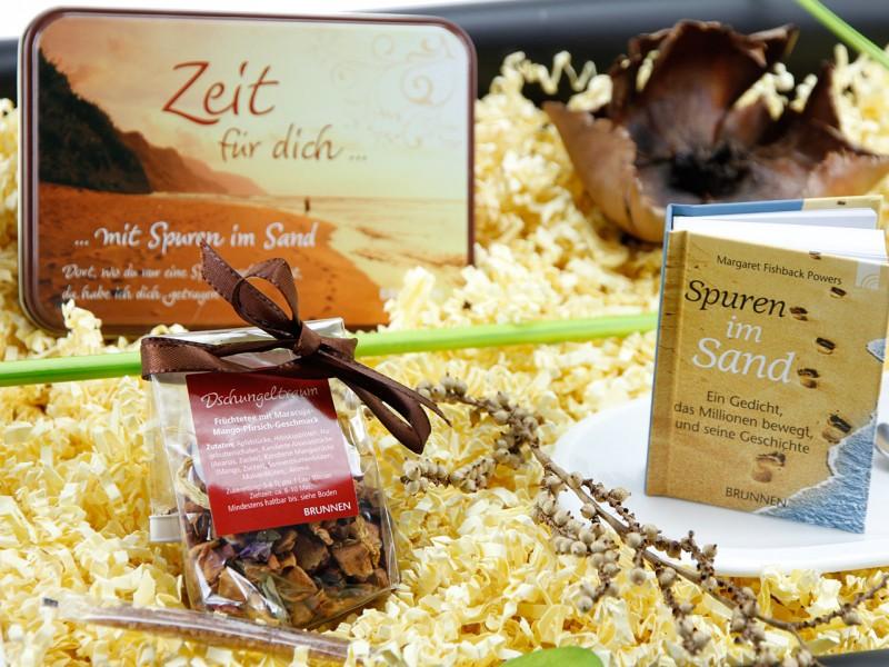 """Geschenkbox """"Zeit für dich…"""" Tee-Set (Teedose *Zeit für dich + Kaffeeset Cocina + Cappuccino Designer Löffel) Geschenkset"""