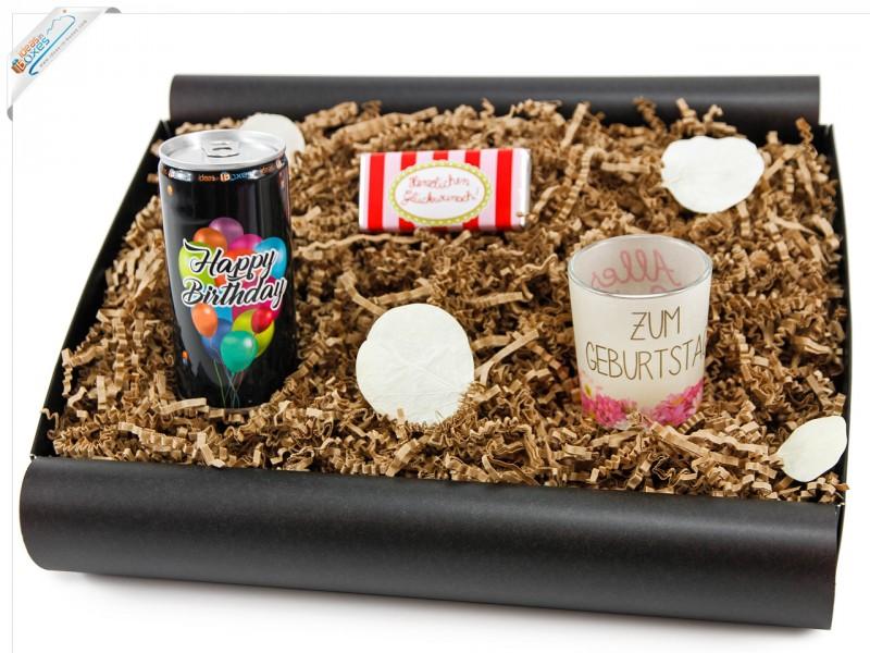 """Geschenkbox von Herzen """"Happy Birthday´ Secco Bianco"""" - Geschenk für jeden Geburtstag  (Secco Bianco + Teelicht + Schokolade)"""