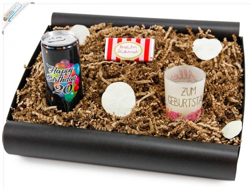 """Geschenkbox von Herzen """"20´ Secco Bianco"""" - Geschenk zum 20 Geburtstag  (Secco Bianco + Teelicht + Schokolade)"""