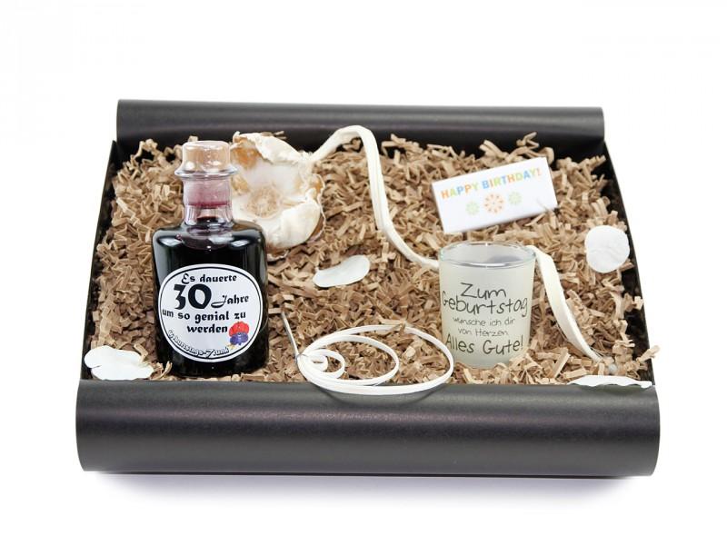 """Geschenkbox von Herzen """"30´ Geburtstag""""  (Apotheker Weinflasche zum 30 Geburtstag + Teelicht"""