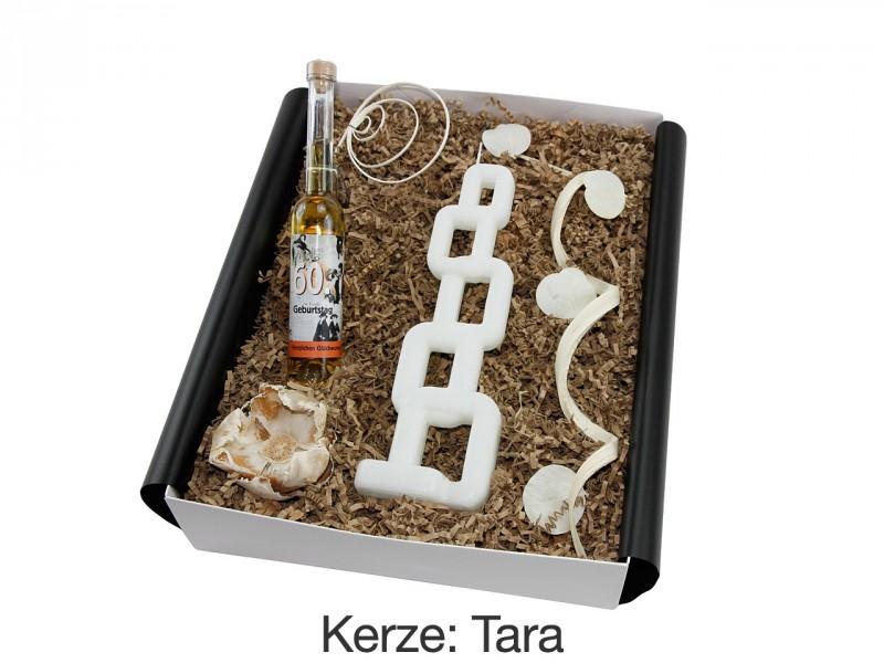 """Geschenkbox mit besonderer Kerze """"60´ Geburtstag"""" (Geburtstagslikör Holunderblüte mit Apfel *Springtime* 60´  + Alusi® mehrflammiger Kerze) von ideas in boxes"""