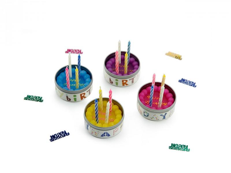Wachstorte *HAPPY BIRTHDAY* mit 4 kleinen Kerzen in lila