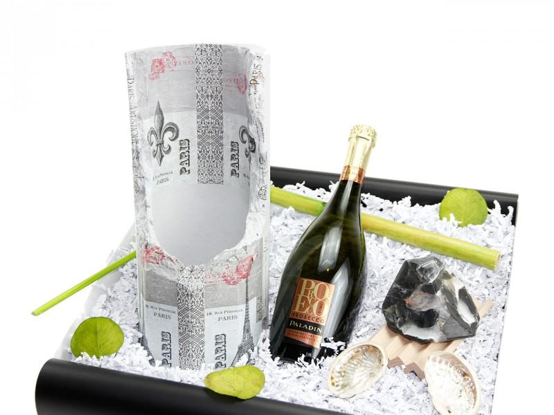 """Mitbringbox """"Paris"""" (Prosecco Paladin + Steinsäule für Sektflaschen *Paris* + SoapRocks + Seifen Ablage aus Holz + ) - Weinbox"""
