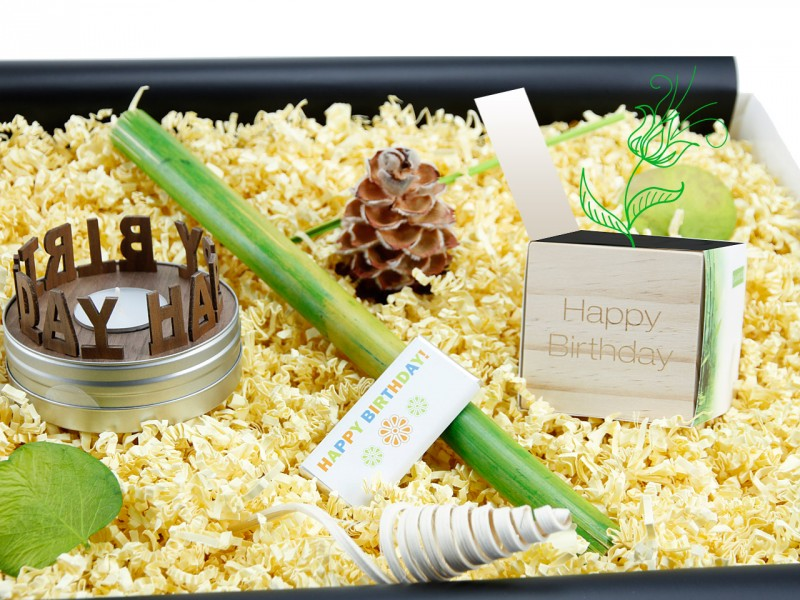 """Geburtstagsbox für jedes Alter """"Happy Birthday"""" (SCHACHTELGESCHICHTEN: Happy Birthday + Flowercube *Bambus* Happy Birthday + Mini-Schoko 18g"""