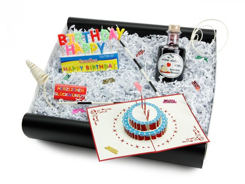 Geburtstagsbox für jedes alter 187 (Apotheker Weinflasche + Happy Birthday Kerzen + Mini-Schoko 18g  + 3D Klappkarte