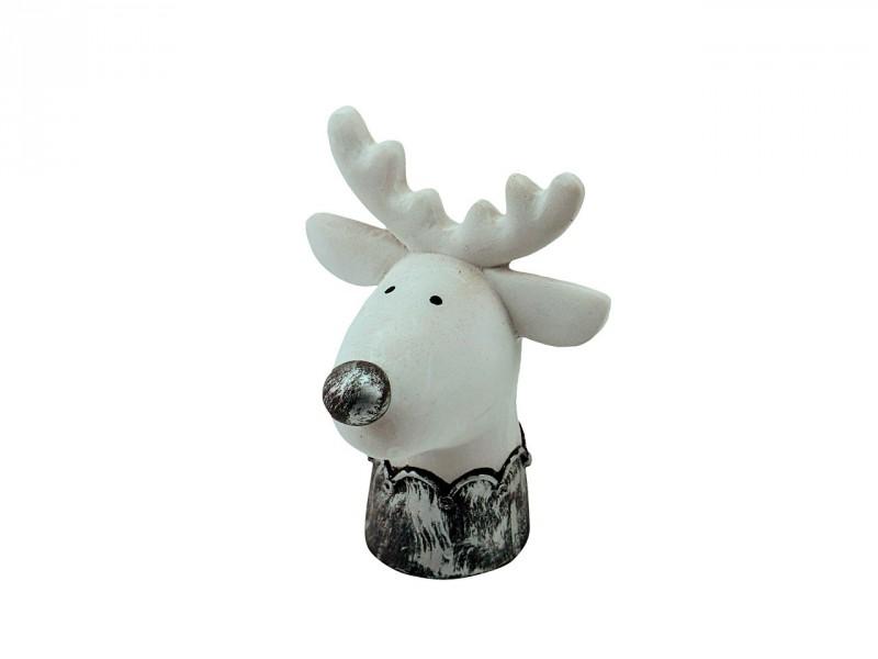 Elchkopf weiß mit silberner Nase