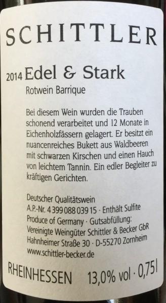 Weinflasche Edel & Stark Barrique Schittler - köstlicher Rotwein mit Tradition