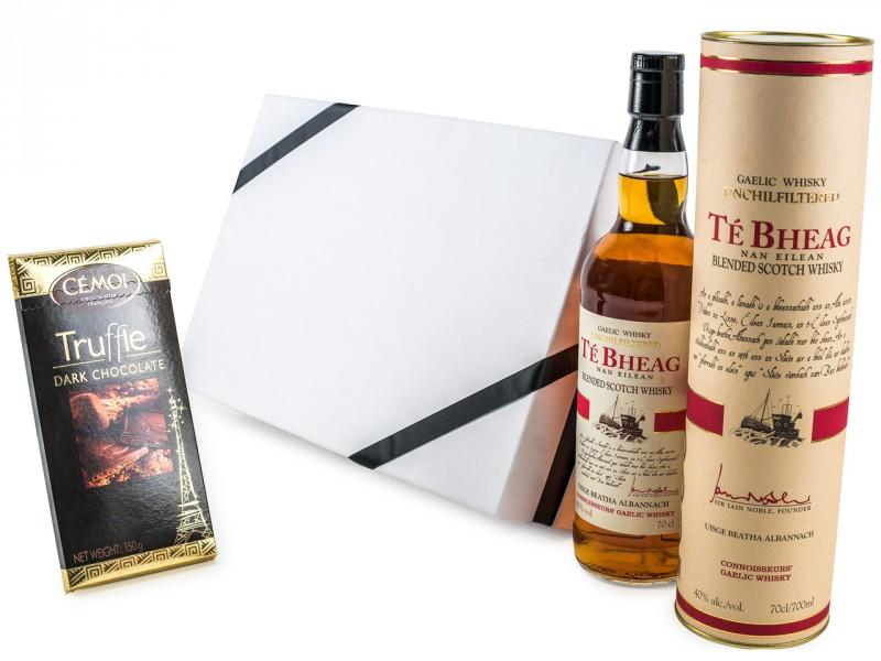 Geschenkset für Männer - Te Bheag Unchillfiltered Whisky + Dunkle Schokolade