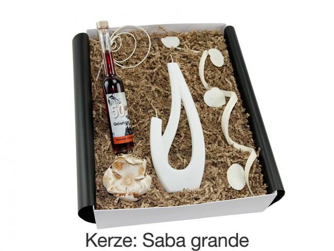 """Geschenkbox mit besonderer Kerze """"50´ Geburtstag"""" (Geburtstagslikör Schokokirsch *Amarena* 50´ +  Alusi® mehrflammiger Kerze) von ideas in boxes"""