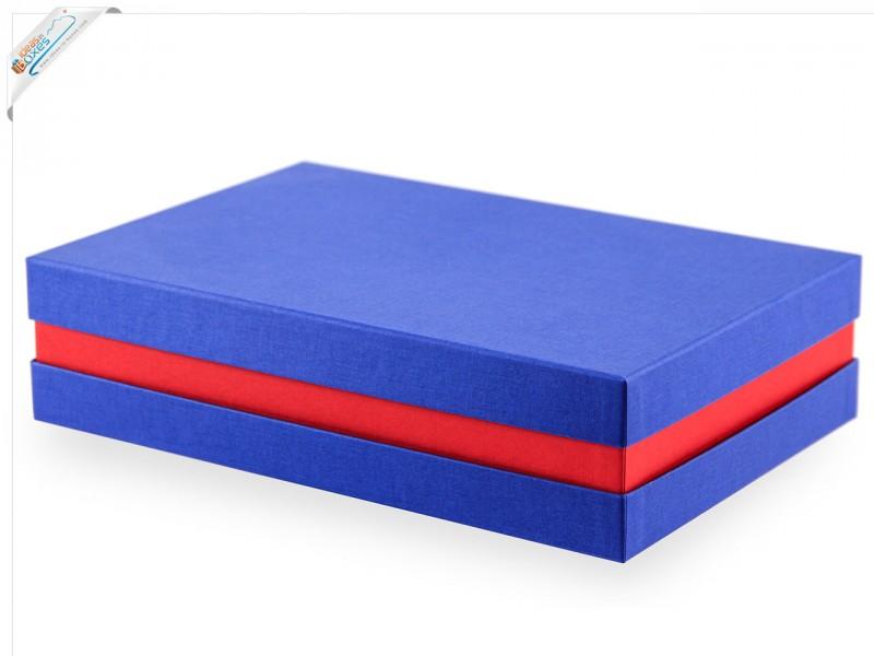 Premium-Geschenkbox - Geschenkverpackung Made in Germany (Blau, Rot, Blau) 33x8x22 cm