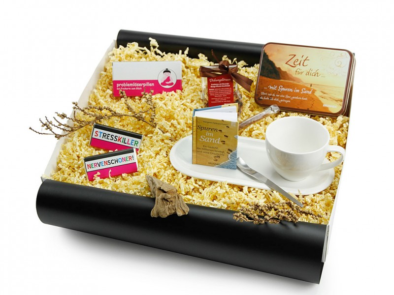 """Geschenkbox """"kleine Pause"""" mit problemlöserpillen (Kaffeeset Cocina + Cappuccino Designer Löffel + Teedose *Zeit für dich* + Problemlöserpillen + Mini-Schoko 18g"""