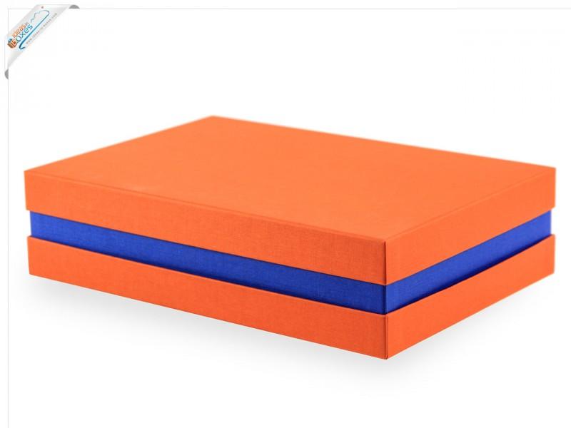 Premium-Geschenkbox - Geschenkverpackung Made in Germany (Orange, Blau, Orange) 33x8x22 cm