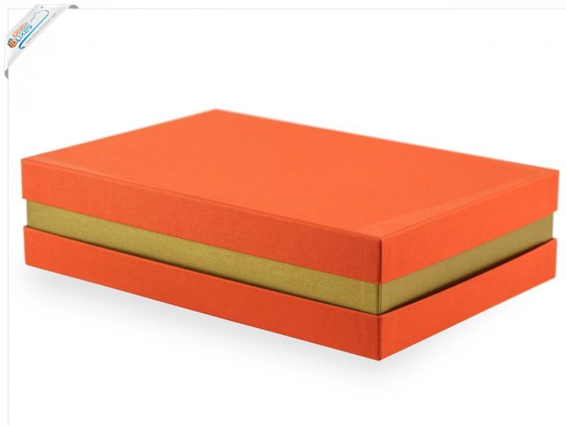 Premium-Geschenkbox - Geschenkverpackung Made in Germany (Orange, Gold, Orange) 33x8x22 cm
