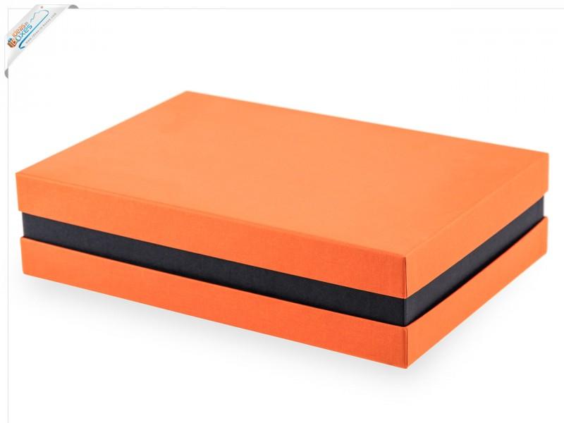 Premium-Geschenkbox - Geschenkverpackung Made in Germany (Orange, Schwarz, Orange) 33x8x22 cm