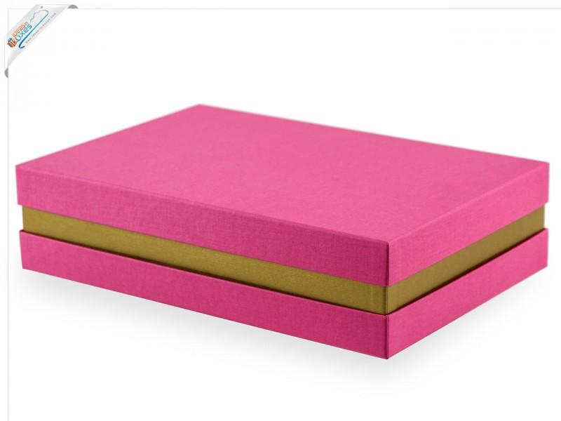 Premium-Geschenkbox - Geschenkverpackung Made in Germany (Pink, Gold, Pink) 33x8x22 cm