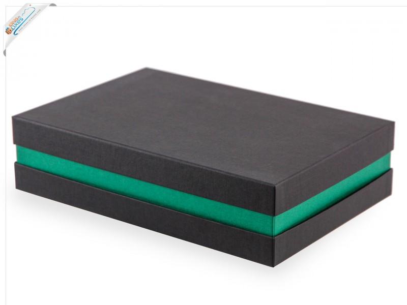 Premium-Geschenkbox - Geschenkverpackung Made in Germany (Schwarz, Grün, Schwarz) 33x8x22 cm
