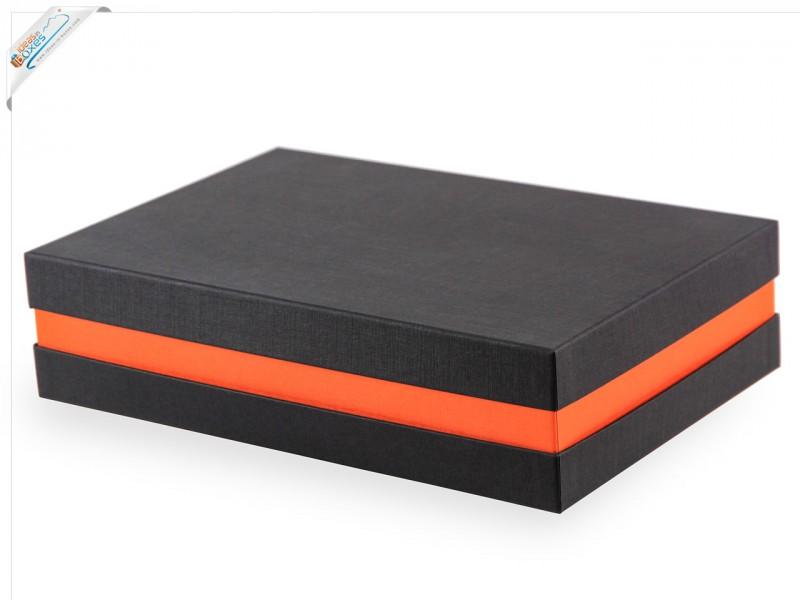 Premium-Geschenkbox - Geschenkverpackung Made in Germany (Schwarz, Orange, Schwarz) 33x8x22 cm