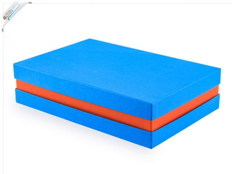 Premium-Geschenkbox - Geschenkverpackung Made in Germany (Türkis, Orange, Türkis) 33x8x22 cm