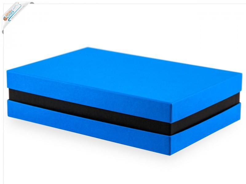 Premium-Geschenkbox - Geschenkverpackung Made in Germany (Türkis, Schwarz, Türkis) 33x8x22 cm