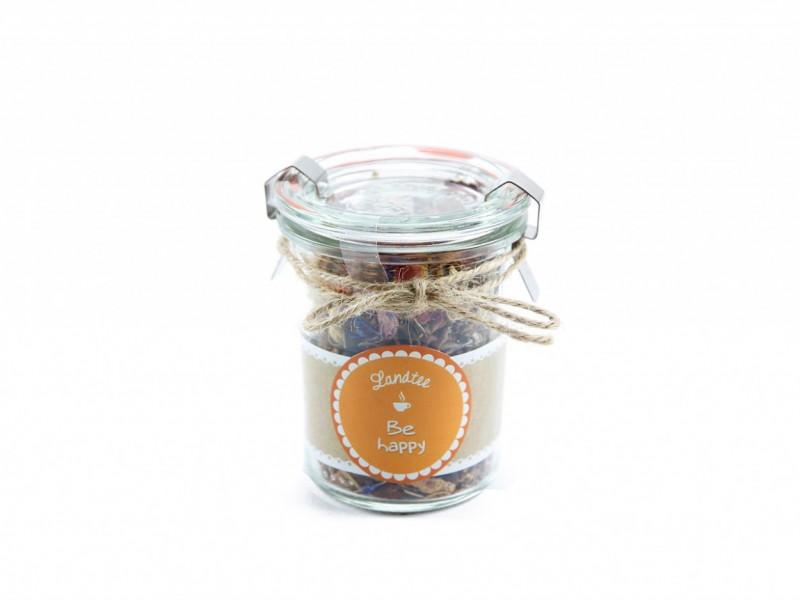 Landtee *Be Happy* (Tolles Teeglas mit Vintage Aufkleber und leckerem Tee) köstliche Geschenkidee