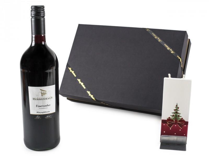 Weihnachtsgeschenk Geschenkset mit Glühwein und Motivkerze