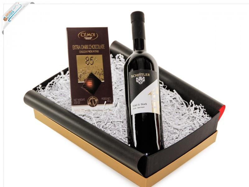 """Geschenkset Wein & Schokolade (dunkel) """"Dunkler Genuss"""