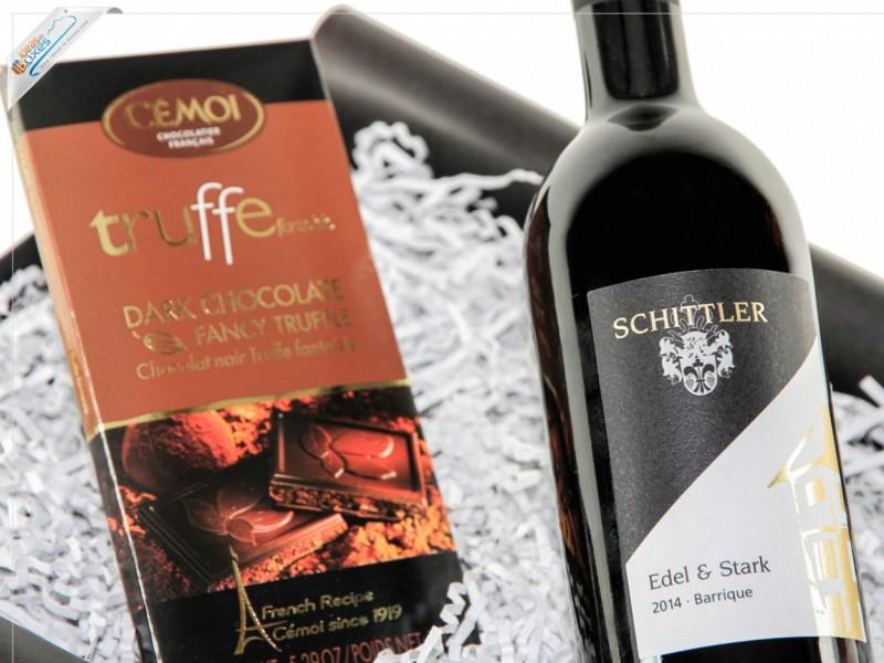 """Geschenkset Wein & Schokolade (zartbitter) """"Schokoladen-Traum"""