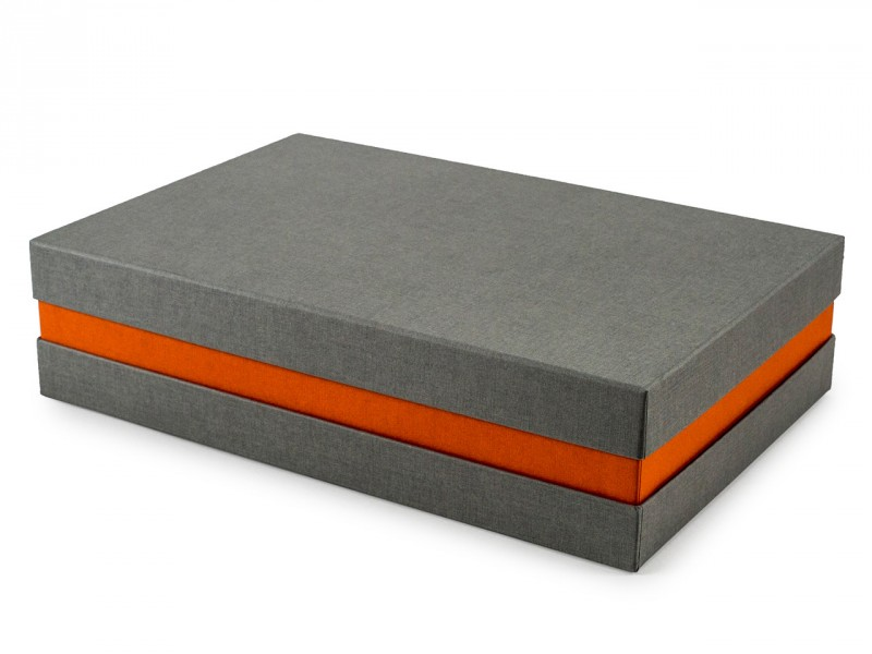 Premium-Geschenkbox - Geschenkverpackung Made in Germany (Grau, Orange) 33x8x22 cm