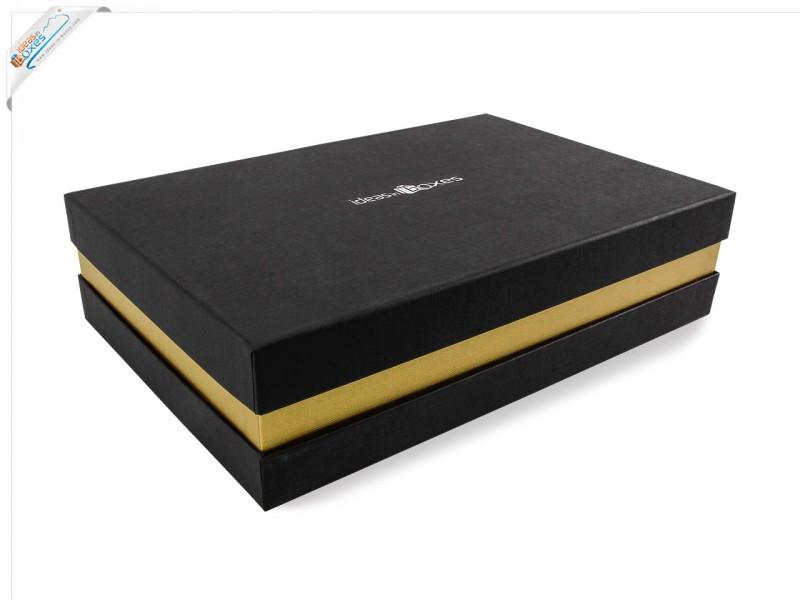 Premium-Geschenkbox - Geschenkverpackung Made in Germany (Schwarz, Gold, Schwarz) 41x9x31 cm