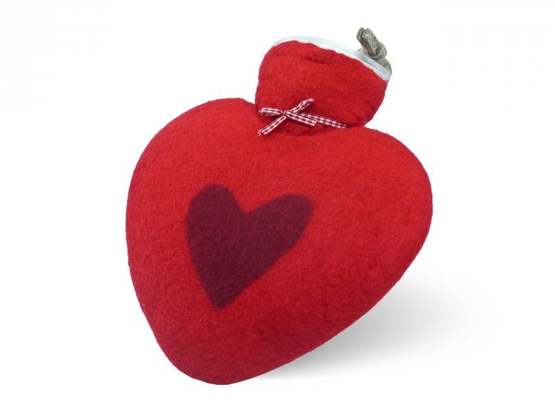 Herzwärmflasche 1 ltr. Herzmotiv