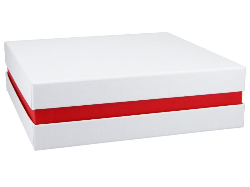 Premium+ Geschenkbox - Geschenkverpackung Made in Germany (Weiß, Rot, Weiß) 21x6x21 cm
